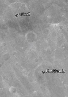 vue verticale du cratère Kostinskiy